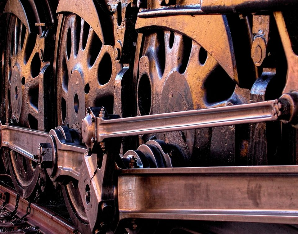 steam locomotive, up 844, steam locomotive wheels