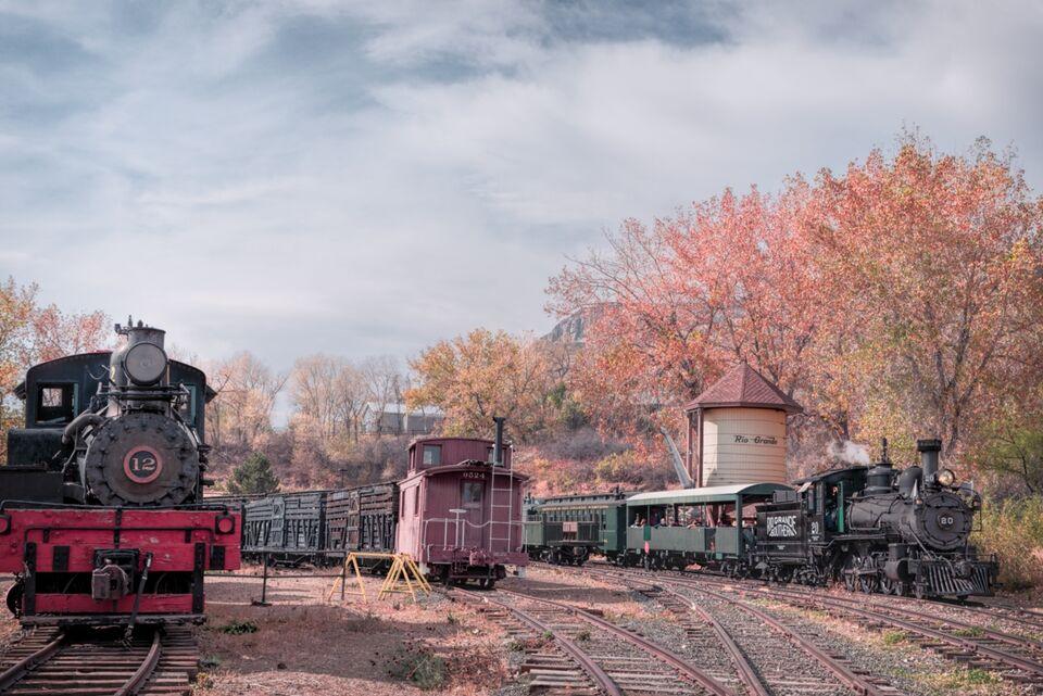 golden colorado, rgs, RGS #20, colorado railroad museum, railroad museum golden colorado, golden colorado, fall afternoon, #20 steam up
