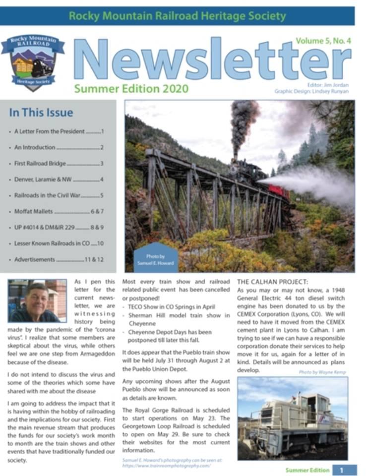Rocky Mtn Railroad Heritage Society Newsletter