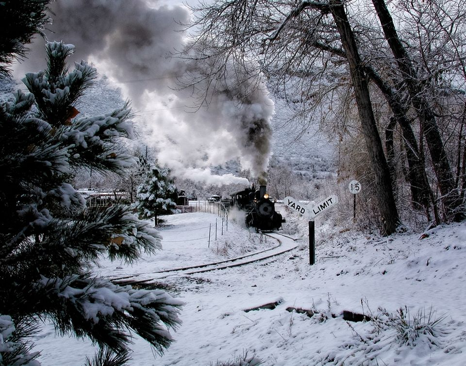 wintertime , winter, steam, santa train, santa, train, cold, day, cold day