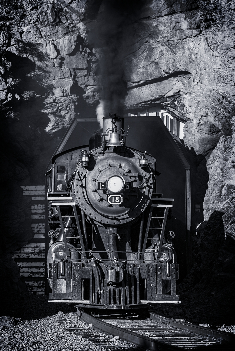 tunnel, mountain railroading, steam locomotive, rio grande scenic railroad, photo