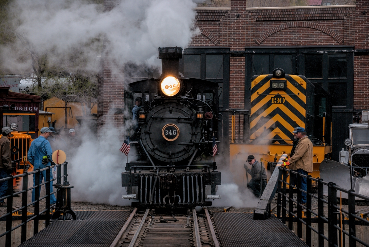 The entertainment is at a high level this morning as DRGW 346 comes off the turntable at the roundhouse at the Railroad Museum...