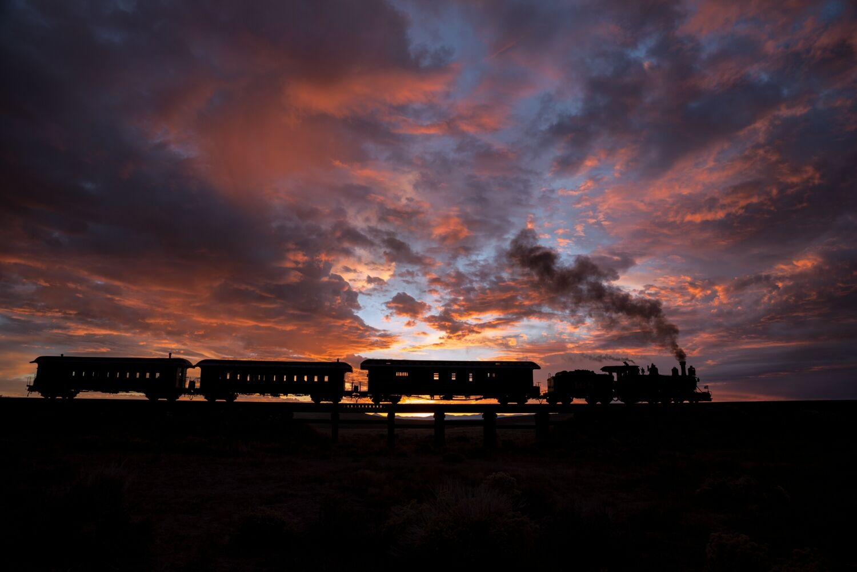 DRG 168 crosses Ferguson's Trestle at sunrise. Taken on the Cumbres Toltec Scenic RR.