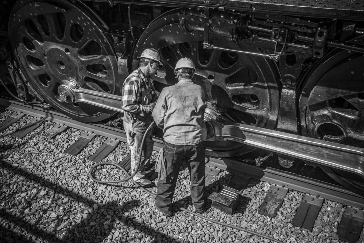 It's all teamwork keeping a steam locomotive running like Union Pacific steam locomotive 844. It's long hours and a lot of work...