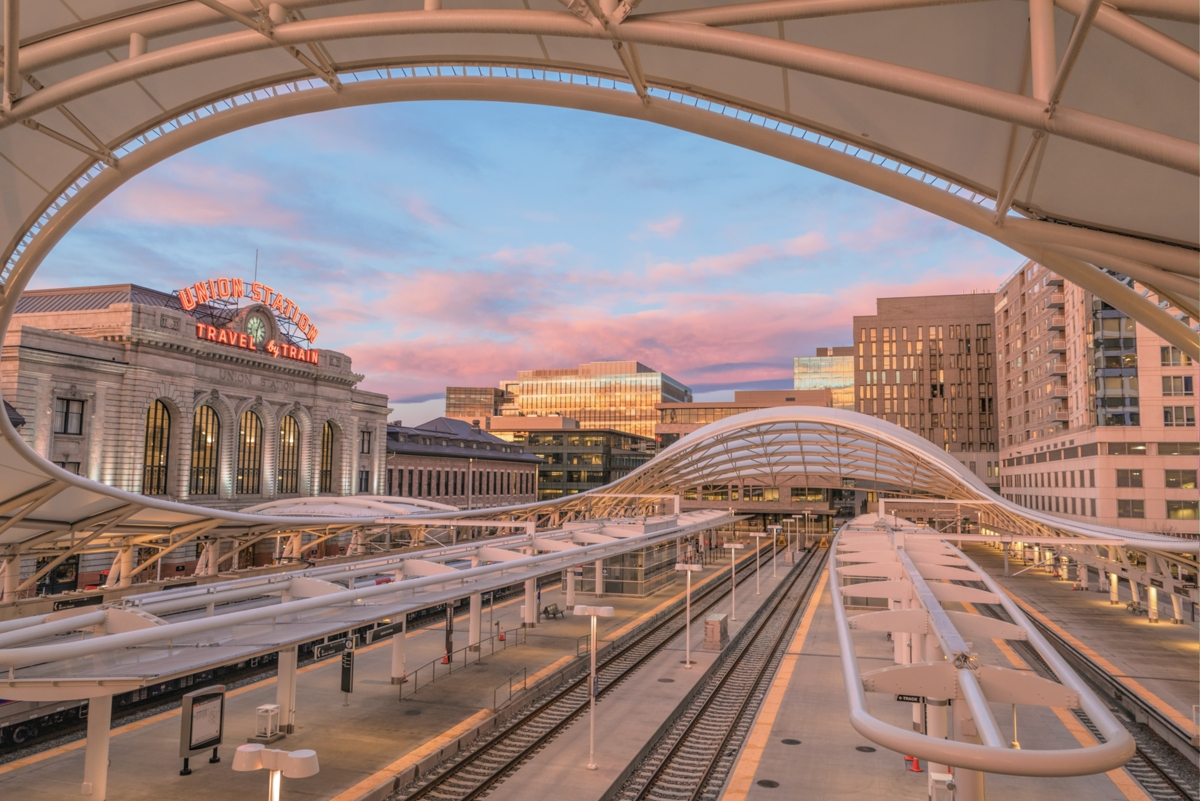 union station denver, denver union station, downtown denver, denver colorado, denver sunrise, passenger station denver, denver train station, light rail denver, denver, sunrise glow, denver's union st, photo